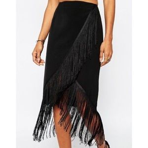 Missguided black fringe detail wrap skirt